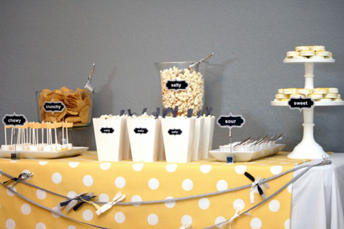 yellow and white dessert table for gender reveal