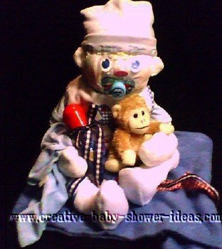 baby diaper monkey with pacifier holding monkey stuffed animal