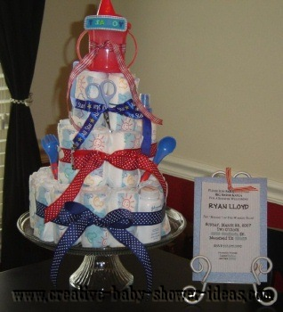 red white and blue diaper cake