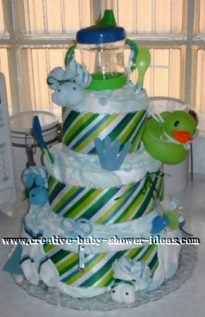 green and blue stripes diaper cake