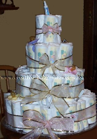 pink and gold bow diaper cake