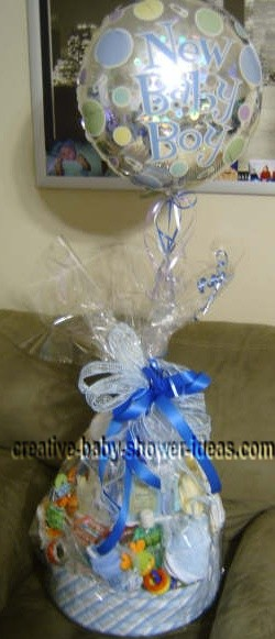 finished boy diaper cake with balloon