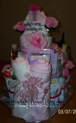 pink attitude diaper cake