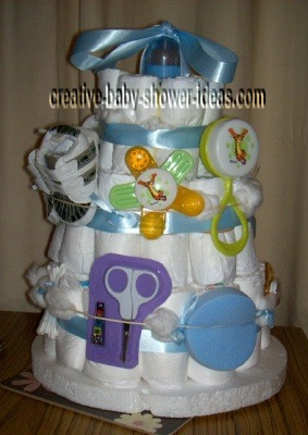 blue bottle diaper cake