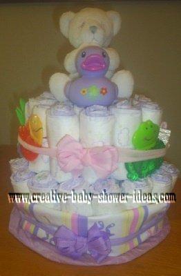 purple duck diaper cake