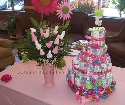 valentine sock rose bouquet and diaper baby cake