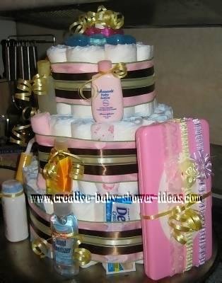 mod stripes diaper baby cake