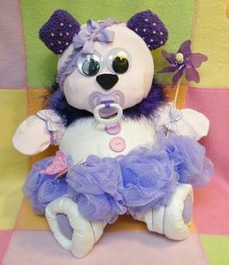 ballerina diaper bear sitting down