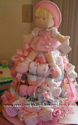 pink doll diaper cake