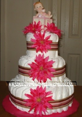 pink flowers baby blocks diaper cake
