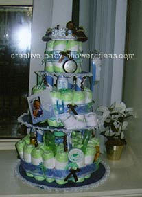 blue and brown doll diaper cake