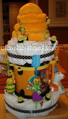 happy beehive diaper cake