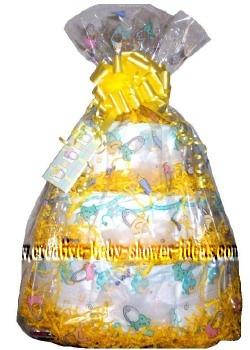 yellow and white diaper cake centerpiece