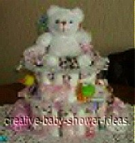 white bear diaper cake instructions