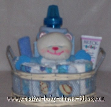 white bear boy diaper cake