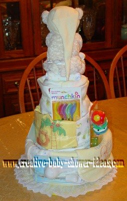 back of bear diaper cake showing baby supplies
