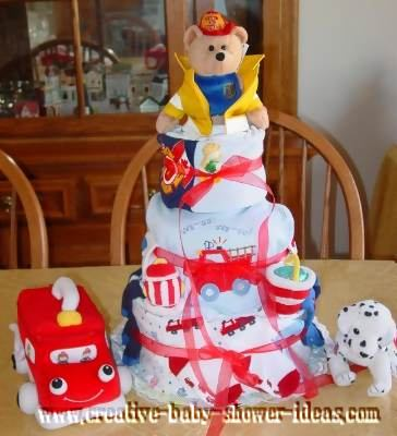 fireman bear diaper cake with firetruck and dalmation dog