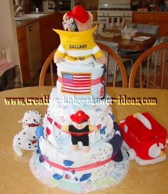 back of fireman bear diaper cake