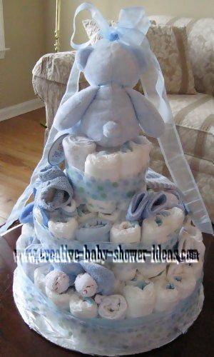 back of blue bear diaper cake