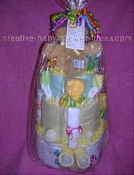 back of teddy bear diaper cake wrapped in cellophane