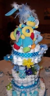 sideview of polka dot diaper cake