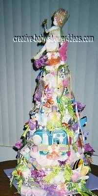 sideview of colorful doll diaper cake