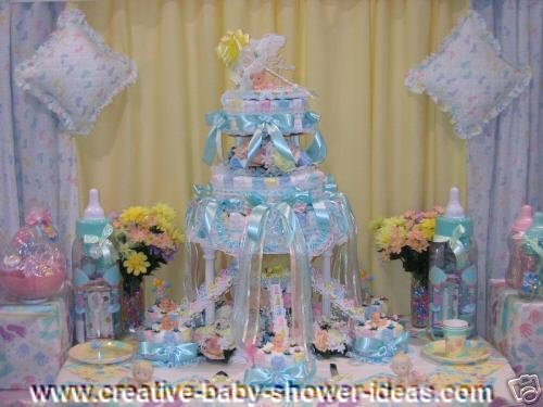 blue wedding style diaper cake on baby shower table