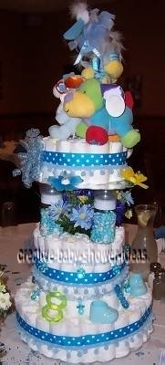blue polka dot animals diaper cake