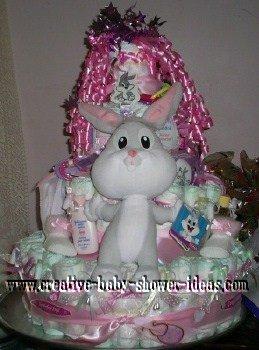 pink bugs bunny diaper cake