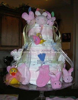pink washcloth bunnies diaper cake