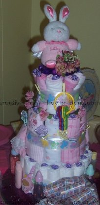 pink and white bunny diaper cakes