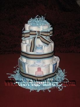 mod blue and tan stripes diaper cake