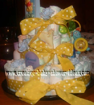 polka dot diaper cake with teether toys