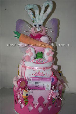 front of diaper bunny diaper cake