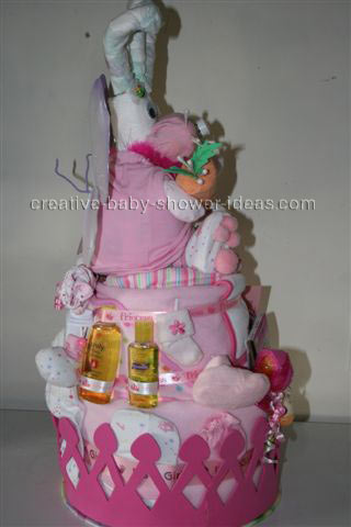 side of diaper bunny diaper cake with fairy wings