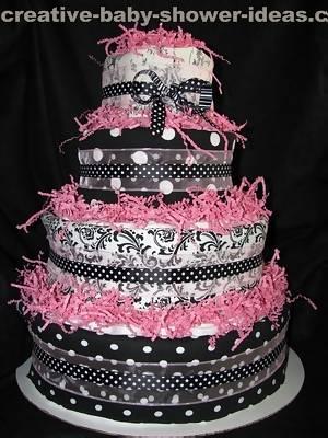 mod mom black and pink diaper cake