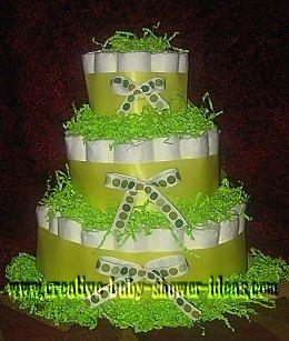 mod lime green polka dots diaper cake