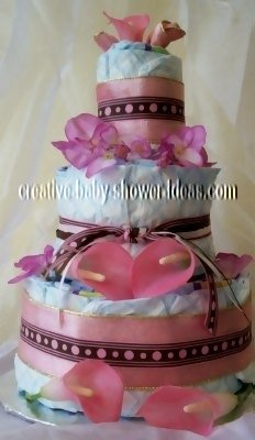 pink and choclate dots diaper cake