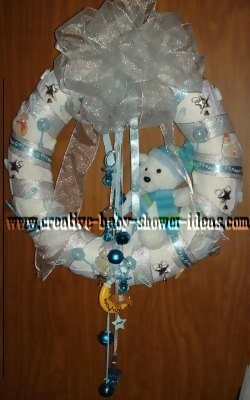 white and blue bear diaper wreath