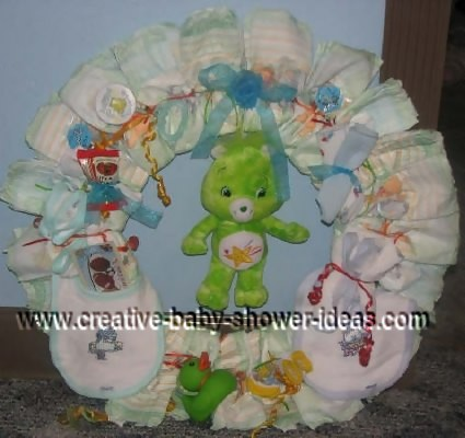 care bear diaper wreath
