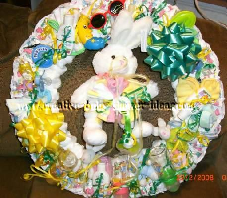 yellow and green bunny diaper wreath