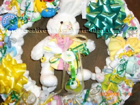 closeup of bunny rabbit diaper wreath