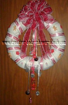 red and siver disco ball diaper wreath