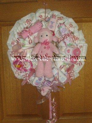 pink lamb diaper wreath