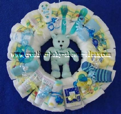 blue bear diaper wreath