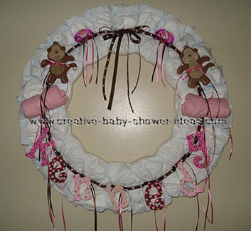 pink and brown monkey diaper wreath