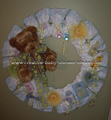 teddy bear flowers diaper wreath