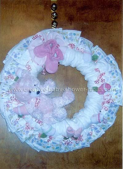 pink bear diaper wreath