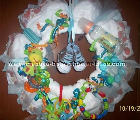 baby boys and shoes diaper wreath