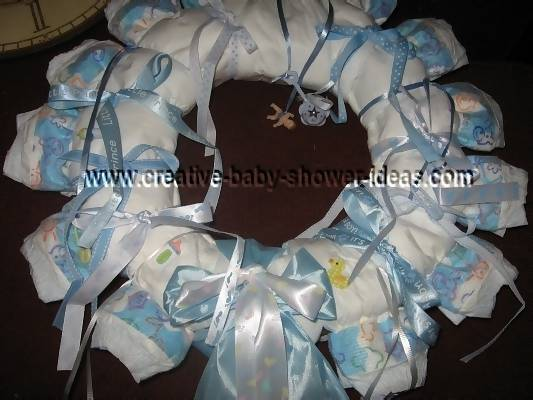 diaper wreath with boy satin ribbon